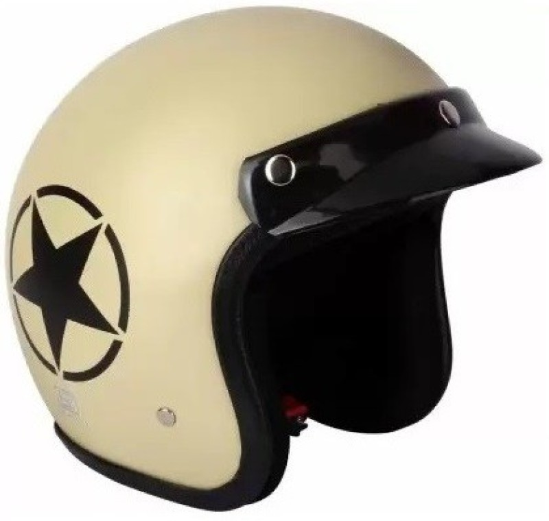 Grizzly O2 Khaki Star ISI Certified Dashing Motorbike Helmet(Beige)