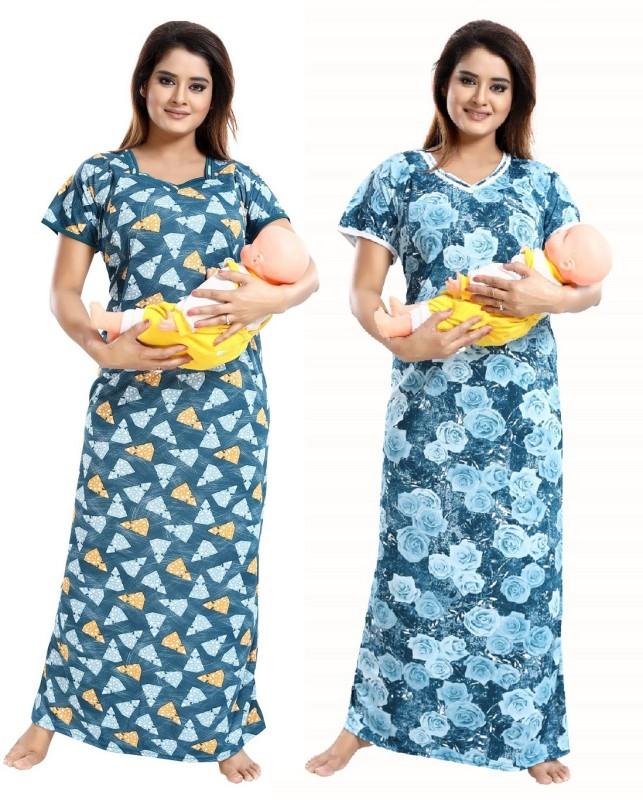 TUCUTE Women Maternity/Nursing Nighty(Blue)