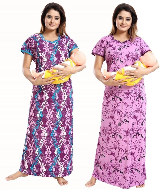 TUCUTE Women Maternity/Nursing Nighty(Purple)