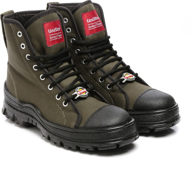 Unistar Jungle Boots- Oil Stain & Water Resistant- Extra Cushion InnerSole -Light Weight Trekking Shoes Boots For Men (OliveGreen) Boots For Men(Multicolor)