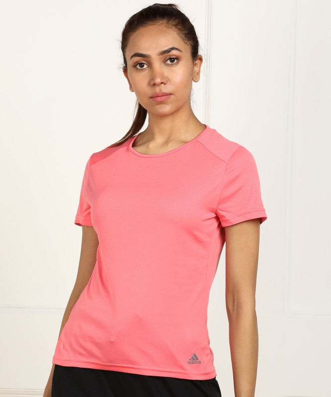 ADIDAS Solid Women Round Neck Pink T-Shirt