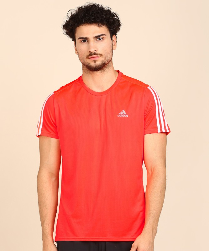 ADIDAS Solid Men Round Neck Red T-Shirt