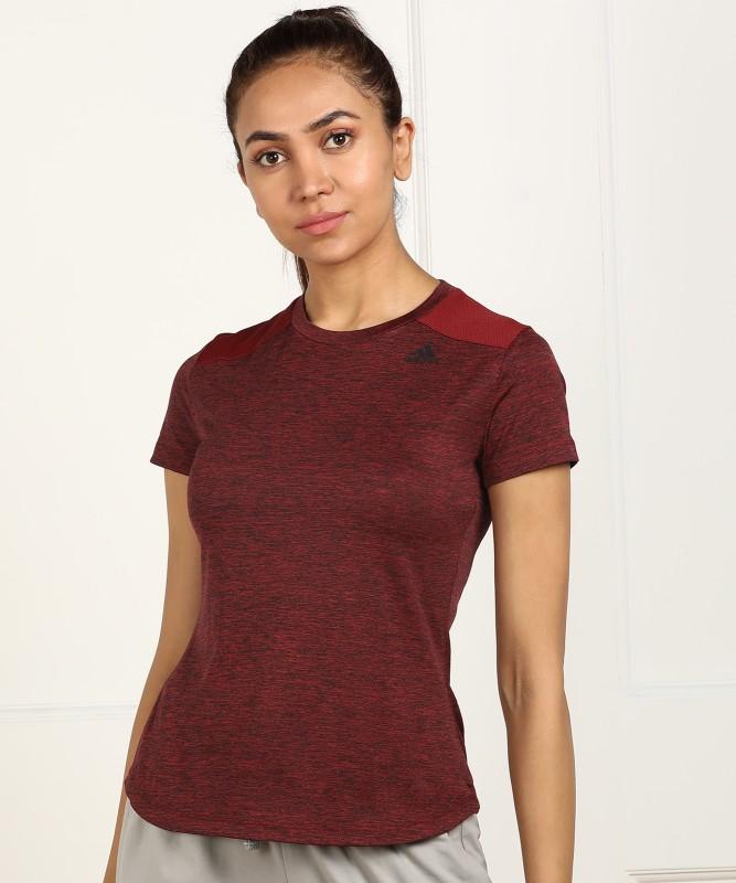 ADIDAS Solid Women Round Neck Maroon T-Shirt
