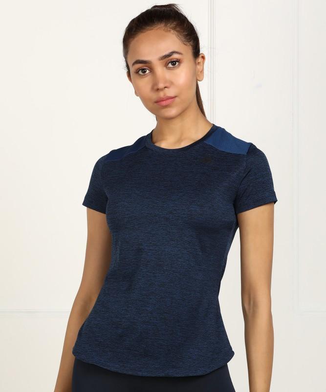 ADIDAS Solid Women Round Neck Blue T-Shirt