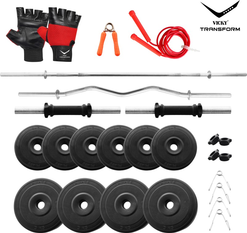 Vicky Transform PVC 24 Kg Curl And Straight Rod Combo Gym & Fitness Kit