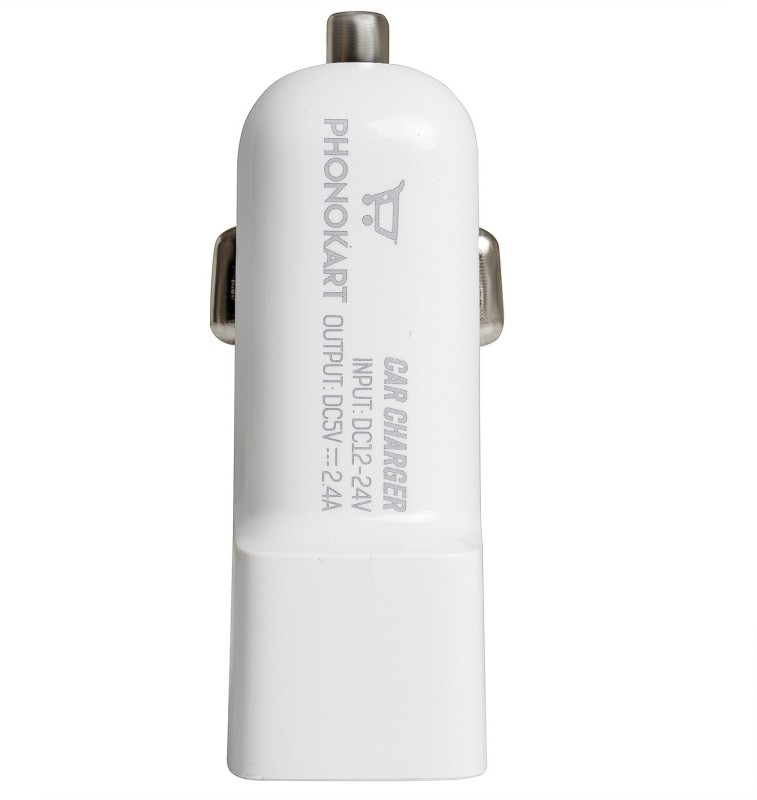 PHONOKART 2.4 Amp Qualcomm Certified Turbo Car Charger(White, With USB Cable)