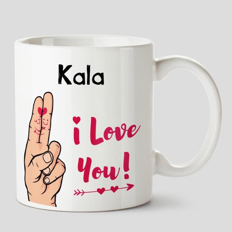 Huppme I Love you Kala Name Ceramic White Coffee - 330 ml Ceramic Mug(330 ml)