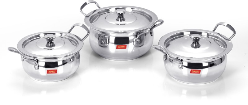 Sumeet Induction and Gas Stove Friendly Stainless Steel Cook and Serve Delux Handi with Lid - Set of 3 Pcs (1.1 Ltr, 1.3 Ltr, 1.8 Ltr) Handi 1.8 L with Lid(Stainless Steel, Induction Bottom)