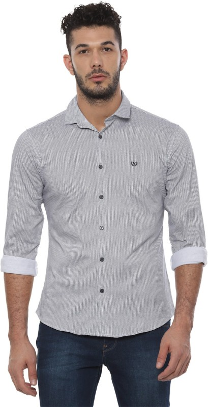Van Heusen Men Printed Casual Grey Shirt