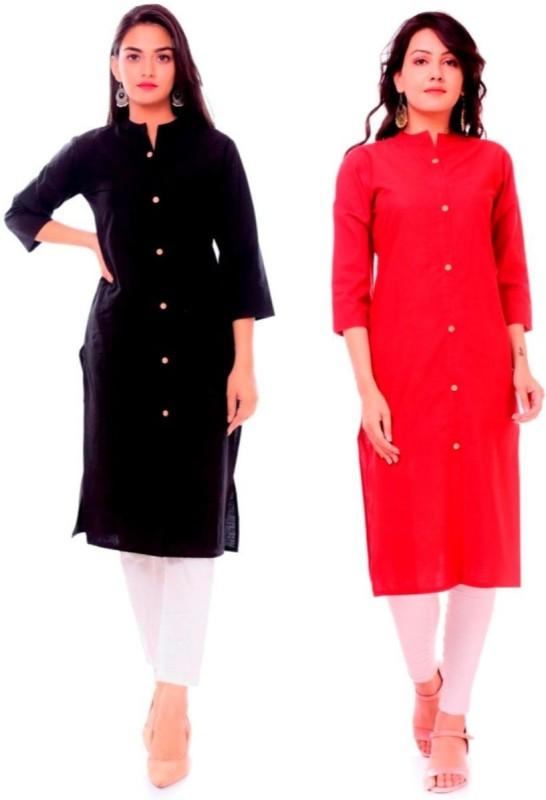 Priya Point Women Solid Frontslit Kurta(Red, Black)