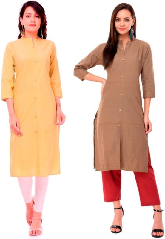 Priya Point Women Solid Frontslit Kurta(Brown, Beige)