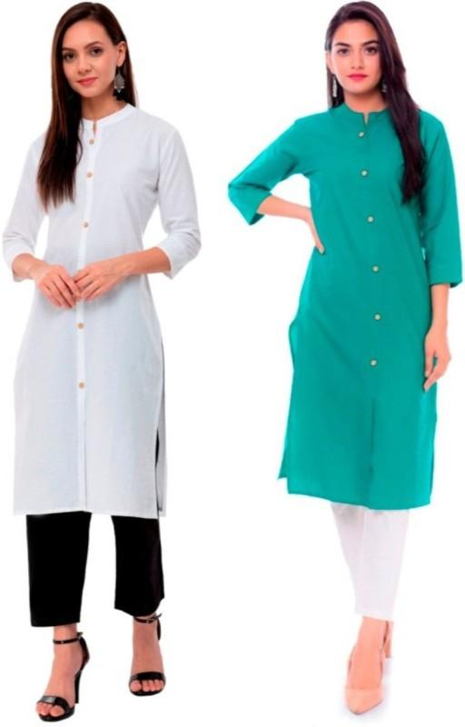 Priya Point Women Solid Frontslit Kurta(White, Green)