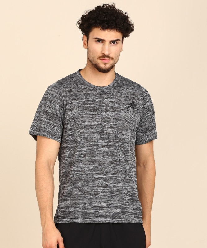 ADIDAS Printed Men Round Neck Black T-Shirt