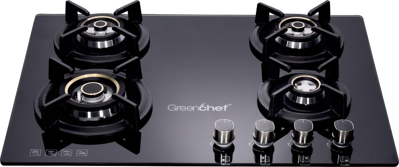 Greenchef GHT HoB Automatic 4 Burner Gas Stove Glass Automatic Gas Stove(4 Burners)