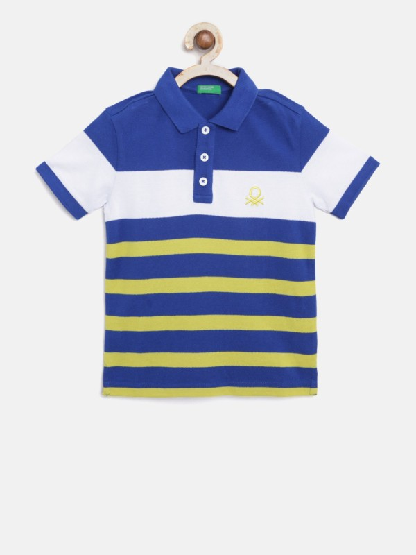 United Colors of Benetton Boys Striped Pure Cotton T Shirt(Blue, Pack of 1)