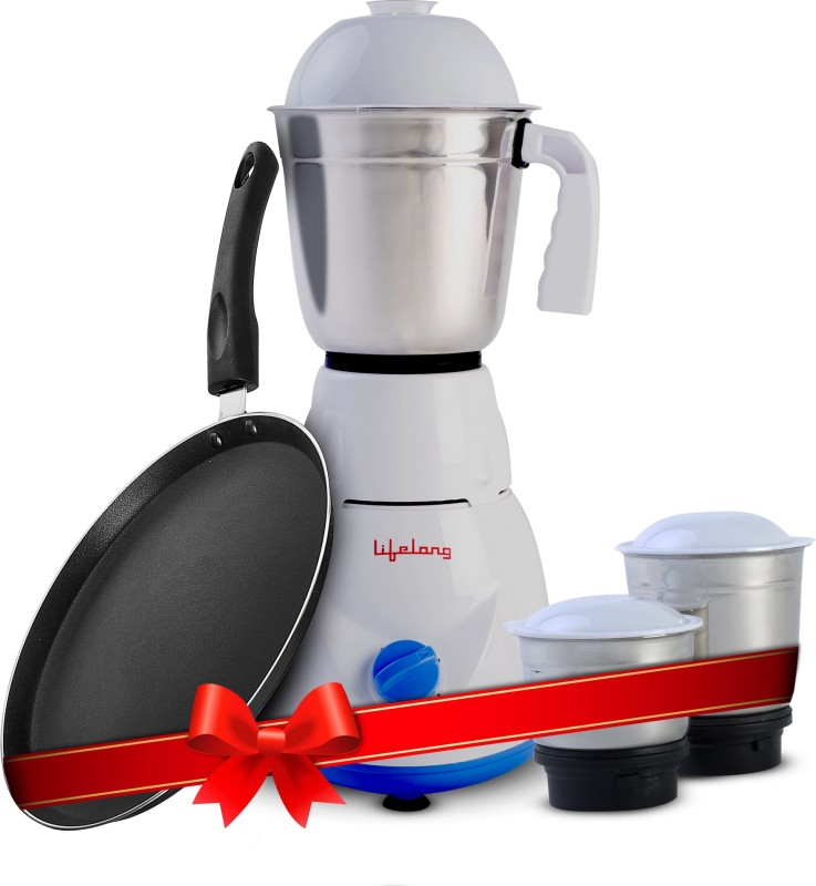Lifelong LLCMB03 500 W Mixer Grinder (White, 3 Jars) & Non stick Tawa Super Combo