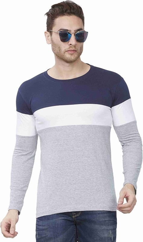IKHLAS Striped Men Round Neck Dark Blue, White, Grey T-Shirt