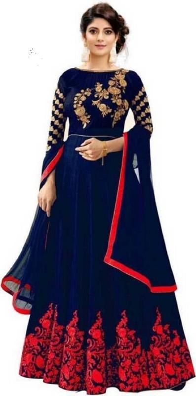 TANVI FASHION Anarkali Gown(Dark Blue)