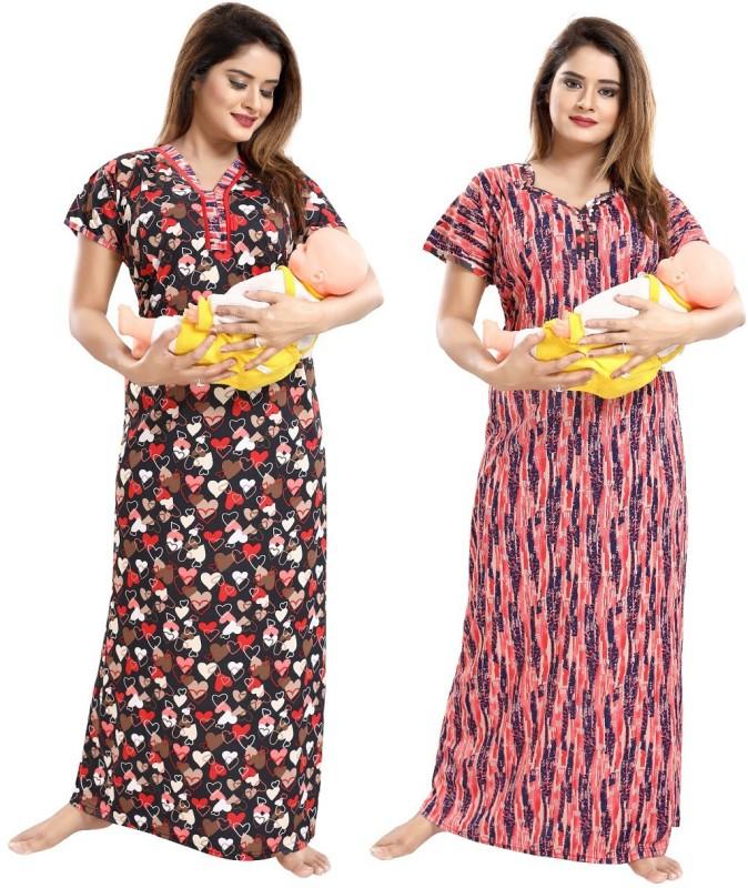 TUCUTE Women Maternity/Nursing Nighty(Red)