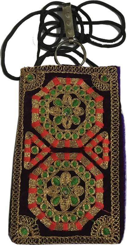 janvifashionflower Purple Gold Dori Embroidered Work Mobile Pouch(Purple)