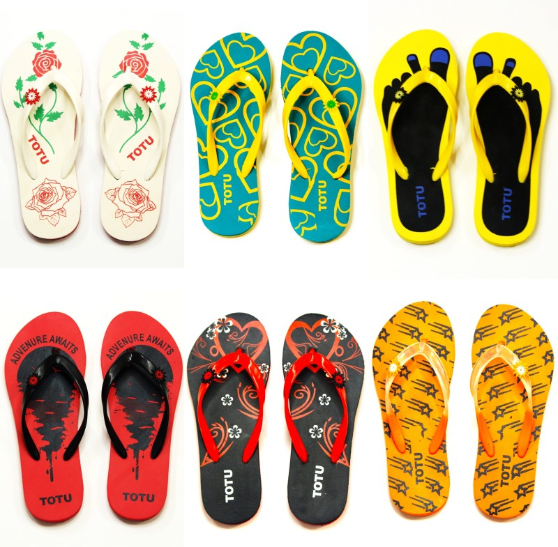 Totu Womens Comfort Stylish Trending with colorful Printed Slippers combo (Pack Of 6 pairs) size 5 Flip Flops