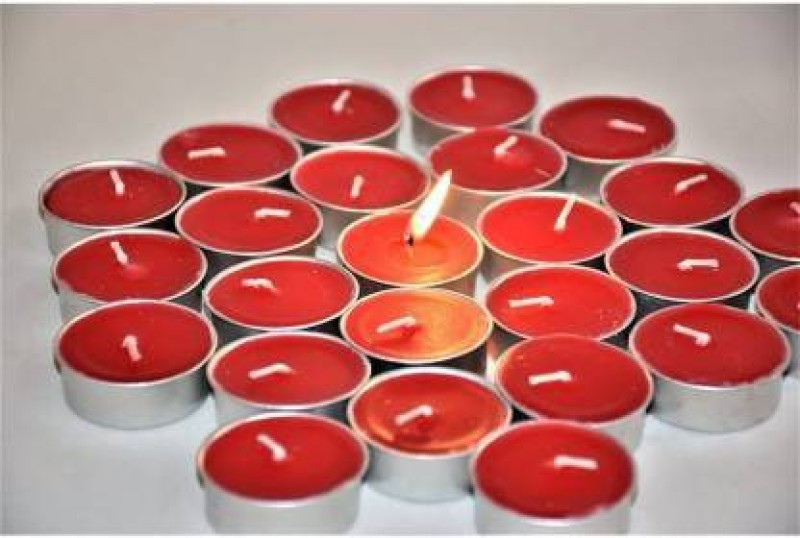 Flipkart SmartBuy Red Tealight pure paraffin candle Candle(Red, Pack of 50)