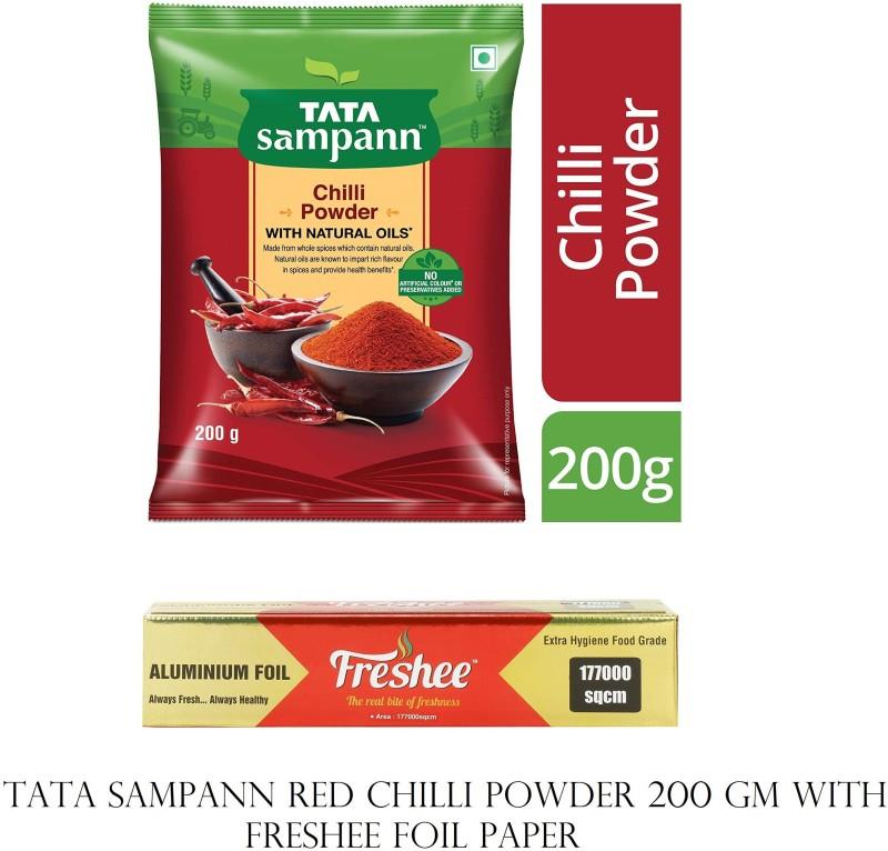 TATA TATAA SAMPANN RED CHILLI POWDER 200 GM + FRESHEE FOIL PAPER Combo(TATA SAMPAN RED CHILLI POWDER; 200 GM, FRESHEE FOIL PAPER; 72 METER)