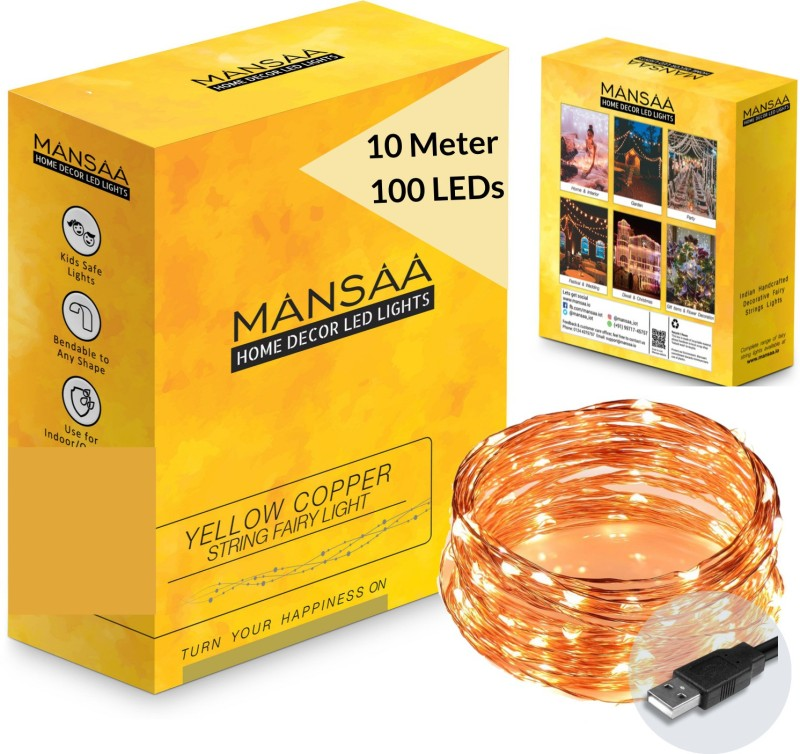 MANSAA 396 inch Yellow, Gold Rice Lights(Pack of 1)