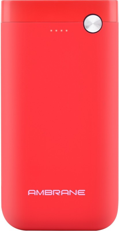 Ambrane 10000 mAh Power Bank (Fast Charging, 10 W)(Red, Lithium Polymer)