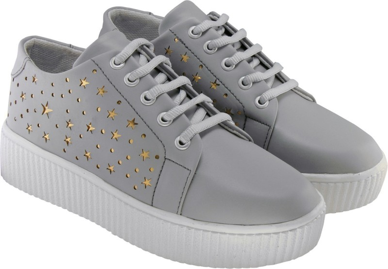 Carrito Women's/Girls Trendy Fashionable Comfortable Lightweight Partywear Casual wear Lace-Up shoe Sneakers For Women(Grey)