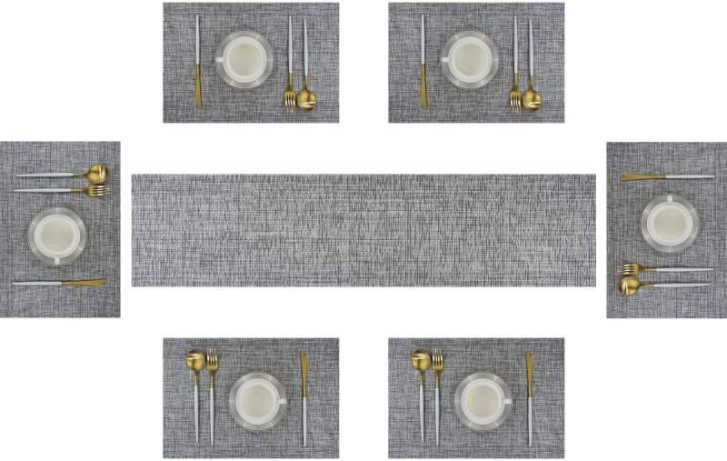 Royalkart Grey PVC Table Linen Set(Pack of 7)