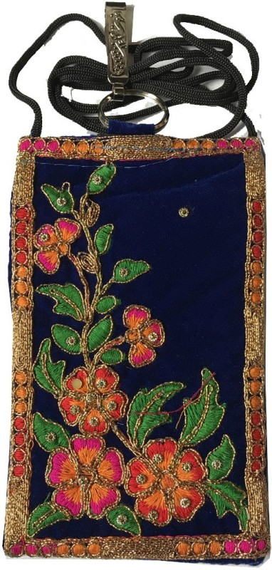 janvifashionflower Blue Velvet Embroidered Work Mobile Pouch(Multicolor)
