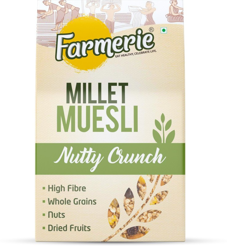 Farmerie Millet Muesli Nutty Crunch_Breakfast Cereal and Snacks_400 gm(400 g, Box)