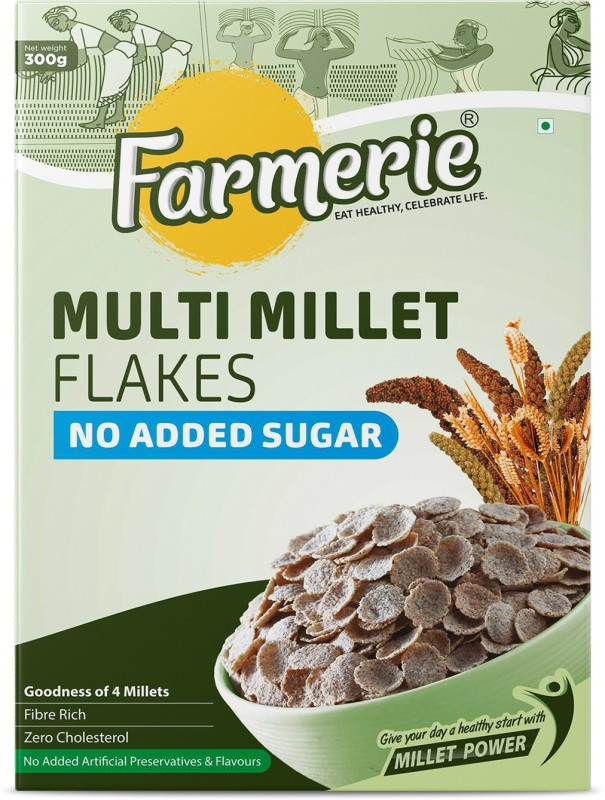 Farmerie Multi Millet Flakes No Added Sugar Breakfast Cereal and Snacks 300 gm(0.3 g, Vacuum Pack)
