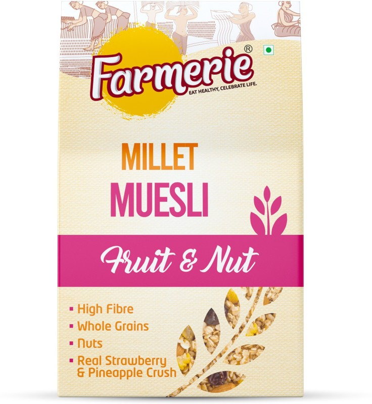 Farmerie Millet Muesli Fruit and Nut_Breakfast Cereal and Snacks_400 gm(400 g, Box)
