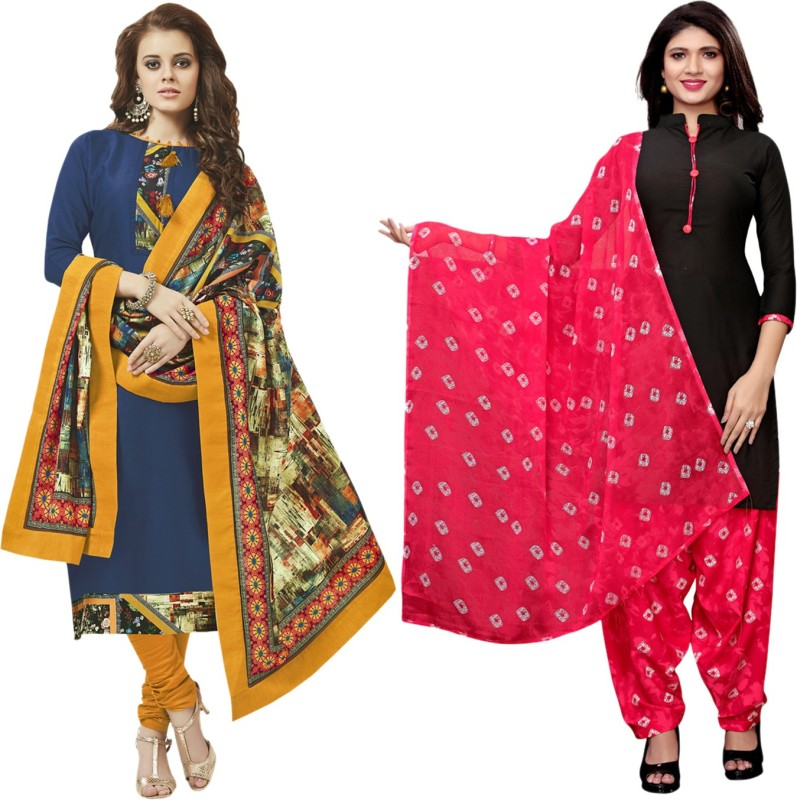Saara Crepe Striped, Solid, Floral Print, Printed Salwar Suit Material(Unstitched)