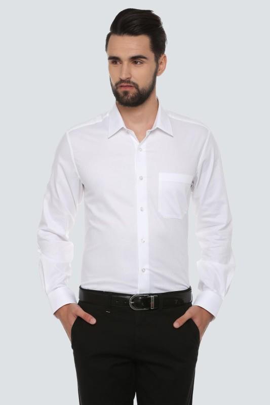 Louis Philippe Men Self Design Formal White Shirt