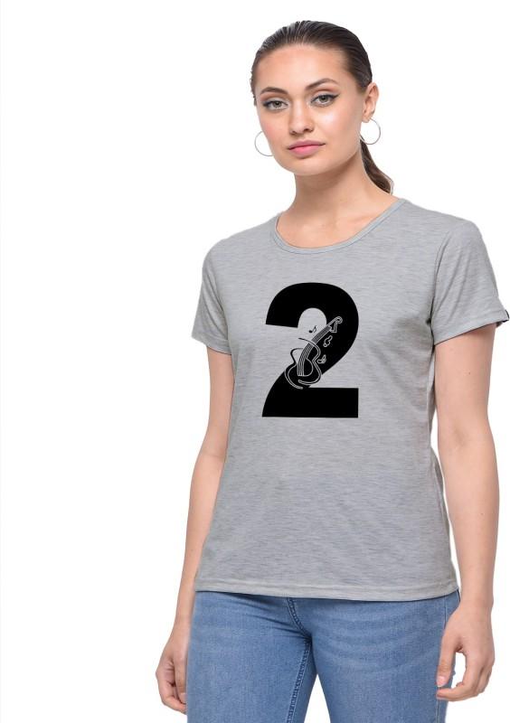 HEYUZE Printed Women Round Neck Grey T-Shirt