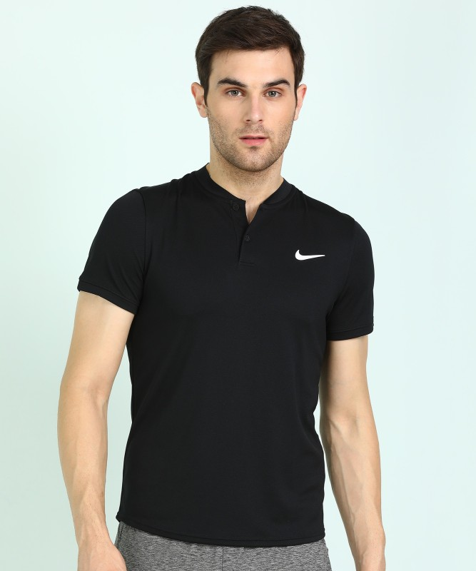 Nike Self Design Men Polo Neck Black T-Shirt