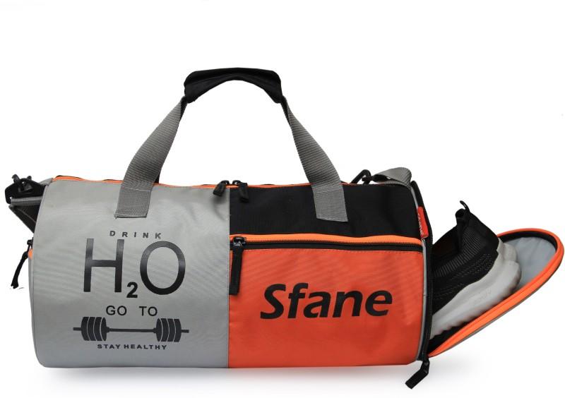 sfane Men & Women Orange Sports Duffel Gym Bag(Orange, Grey)