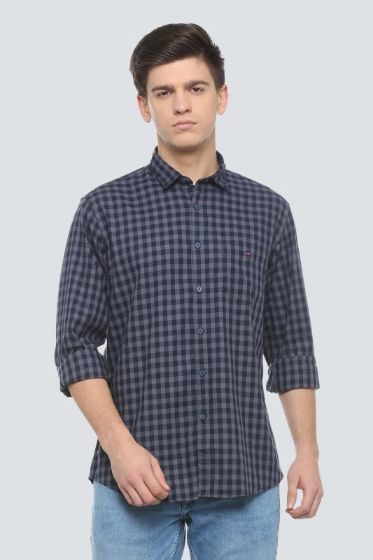 Louis Philippe Men Checkered Casual Blue Shirt