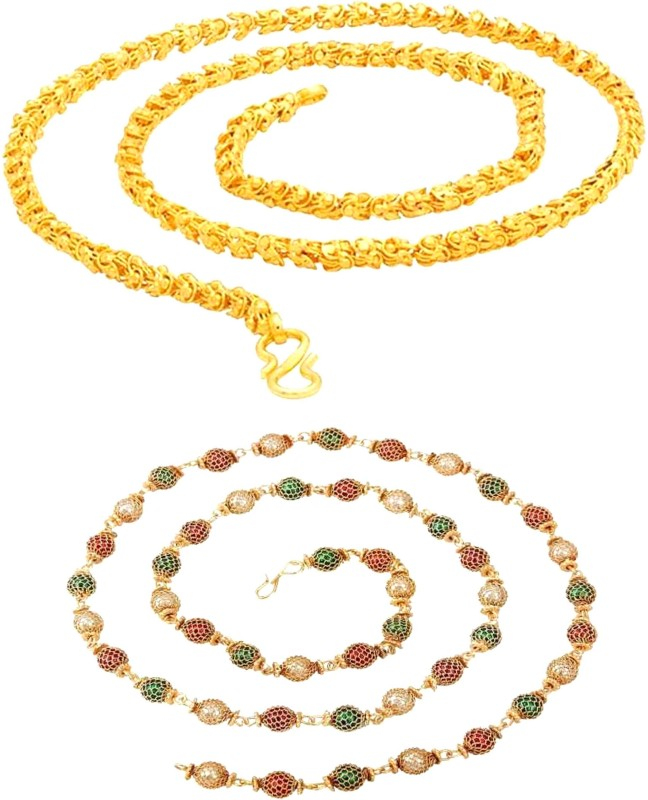 TIRUPATI Deals trendy and fancy exclusive design neck chain for men and boys combo pack Chain Necklace for men & boys, And ,Women & Girls Gold-plated Brass Chain Jewelry Gift for Him, Boy, Men, Father, Brother, Boyfriend, Party Wear, Daily Wear Beads Gold-plated Plated Alloy Chain