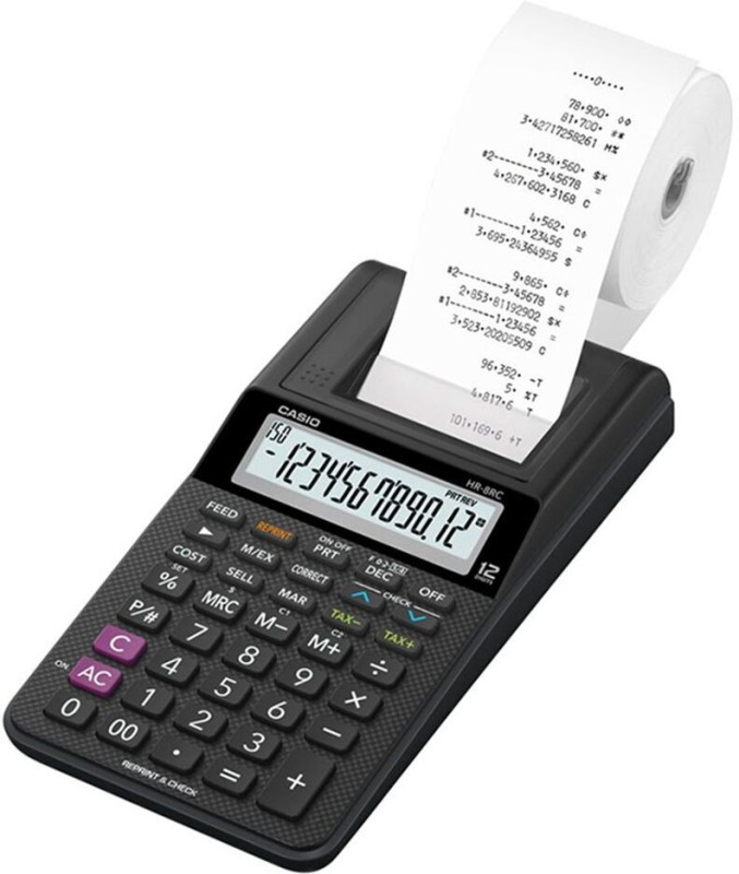 Casio HR-8RC-BK Printing  Calculator(12 Digit)