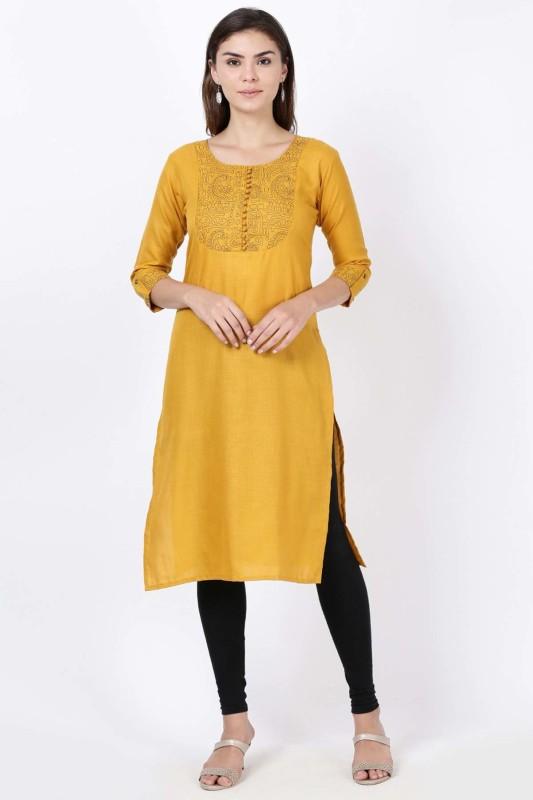 Soch Casual Printed Women Kurti(Yellow)