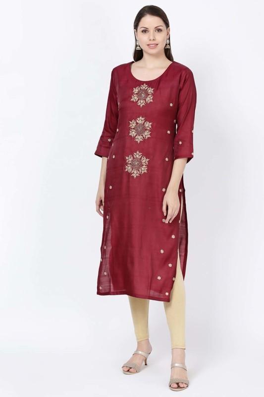 Soch Formal Embroidered Women Kurti(Maroon)