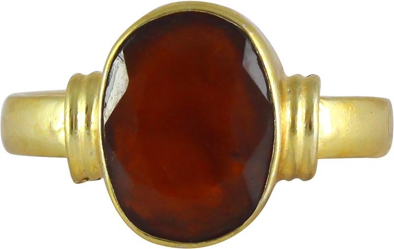 TODANI JEMS 7.25 Ratti Natural Hessonite Garnet/Gomed Adjustable Ashtadhatu Ring for Men Women Brass Garnet Rhodium Plated Ring