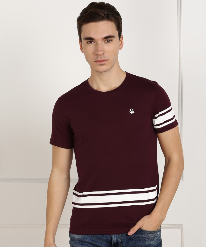 United Colors of Benetton Striped Men Round Neck Maroon T-Shirt