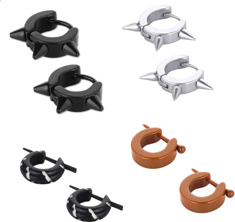 GoldNera Earring Set Wood, Stainless Steel Huggie Earring