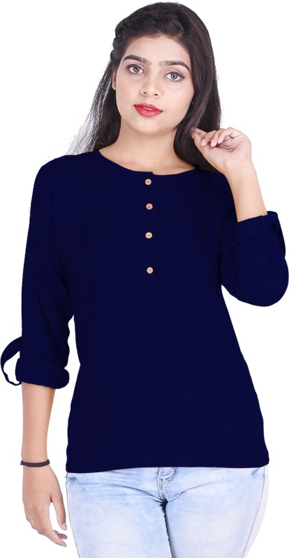 KURTI WORLD Casual Roll-up Sleeve Solid Women Dark Blue Top