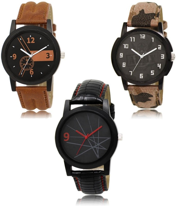 FASHION POOL 01_03_08 NEW ARRIVAL FAST SELLING DESIGNER COMBO WATCH FAST SELLING TRACK DESIGNER LEATHER BELT WATCH FESTIVAL_PARTY_DIWALI_VALENTINE SPECIAL COMBO WATCH Analog Watch - For Men